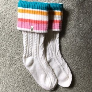 UGG rain boot socks white pink blue yellow striped